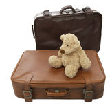 Teddy bear with suitcase Stock Image