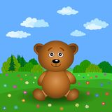 Teddy bear on a summer flower meadow Royalty Free Stock Image