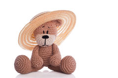 Teddy bear with sun hat Royalty Free Stock Image
