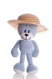 Teddy bear with sun hat in summer Stock Images