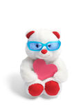 Teddy Bear with Sunglasses and Love Heart. On White Background Stock Images