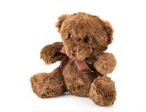 Teddy Bear sur le fond d'isolat plancher gentil b d'amour d'art mignon d'arc Photographie stock