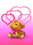 Teddy Bear sveglio con i cuori Fotografie Stock