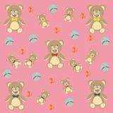 Teddy Bear sveglio e palle colorate Fondo con i giocattoli dei bambini Fotografia Stock