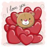 Teddy Bear sveglio nei cuori illustrazione di stock