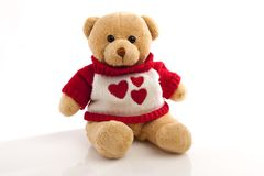 Teddy-bear in the sweater with hearts Royalty Free Stock Image