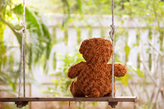 Teddy bear on swing. Royalty Free Stock Photos