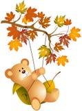 Teddy bear swinging on autumn tree branch vector illustration