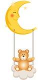 Teddy Bear Swinging in Maan vector illustratie
