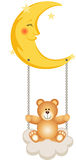 Teddy Bear Swinging in Moon Royalty Free Stock Photography
