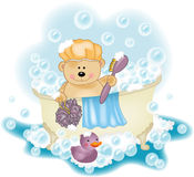 Teddy bear taking a bath Royalty Free Stock Photos