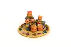 Teddy Bear Tea Set. Miniature tes set based on the theme of Teddy Bears.  Child's collectable toy Stock Photos