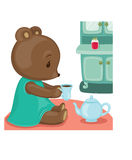 Teddy bear tea time Stock Images