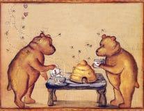 Teddy Bear Tea Time Party. Two Teddy Bears having a tea party with bee Friends vector illustration