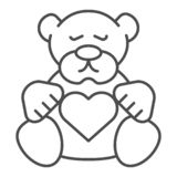 Teddy bear thin line icon. Plush toy vector illustration isolated on white. Kid toy outline style design, designed for. Web and app. Eps 10 vector illustration