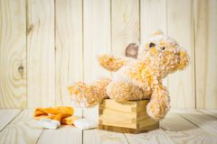 Teddy Bear toy alone on box wood on wood Royalty Free Stock Images