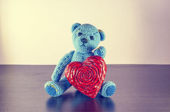 Teddy Bear toy alone on wood Stock Photography
