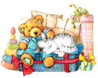 Teddy bear. Toy background. watercolor Stock Photos