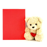Teddy bear toy with a blank card. On white background Royalty Free Stock Photography