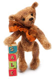 Teddy Bear with toy blocks Stock Photo