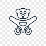 Teddy bear toy concept vector linear icon isolated on transparent background, Teddy bear toy concept transparency logo in outline. Teddy bear toy concept vector vector illustration