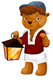 Teddy bear toy flashlight character cartoon style  Stock Photo