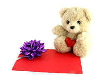 Teddy bear toy with a gift card. On white background Royalty Free Stock Photo