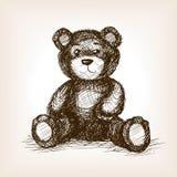 Teddy bear toy hand drawn sketch style vector Stock Photos