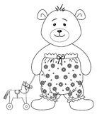Teddy-bear with a toy horsy, contours. Teddy-bear in the clothes decorated with flowers and toy horsy, contours Royalty Free Stock Images