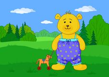 Teddy bear with toy horsy on glade. Teddy bear playing in summer forest with toy horsy Royalty Free Stock Photo