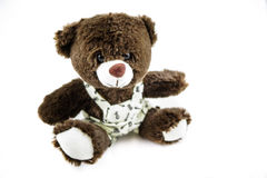 Teddy bear. Teddy, bear, toy, plush, fluffy, kid, childhood, children, kids, joy, isolated, white, brown, cute, child Stock Image