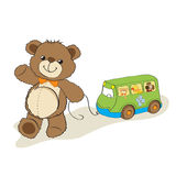 Teddy bear toy pulling a bus. Cartoon vector illustration Stock Images