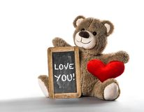 Teddy bear toy red heart Valentines Day Love You. Teddy bear toy with red heart. Valentines Day. Love You stock image