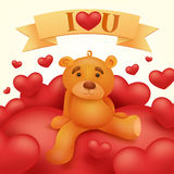 Teddy bear toy sitting on red heart. St Valentines day greeting card Stock Image