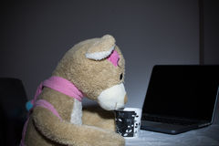 Teddy bear toy on the table with laptop and cup of coffee. Photographed with little night lamp Royalty Free Stock Photos