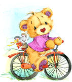 Teddy bear travel and  bicycle. watercolor illustration Stock Images
