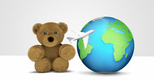 Teddy bear travel and world globe with plane 3d render flight Stock Image