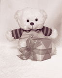 Teddy Bear with tulip - Valentines Day Stock Photos. Teddy Bear with tulip - Valentines Day or Mothers day card : cute pink Teddybear with gift box stock image