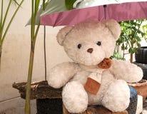 Teddy bear, umbrella, sun protection. Royalty Free Stock Image