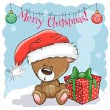 Teddy Bear in un cappello di Santa Immagini Stock Libere da Diritti