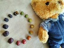 Teddy Bear- und coffebohnen Stockfoto