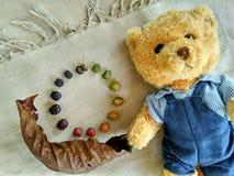 Teddy Bear- und coffebohnen Stockfotografie