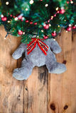 Teddy bear under the Christmas tree Royalty Free Stock Images