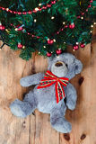 Teddy bear under the Christmas tree Royalty Free Stock Photography