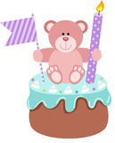 Teddy bear up birthday cake Stock Images