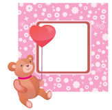 Teddy Bear valentine frame Royalty Free Stock Images