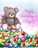 Teddy bear and Valentine hearts Royalty Free Stock Photos