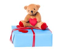 Teddy bear on the valentine's gift box Royalty Free Stock Photography