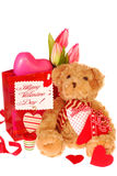 Teddy bear with valentine`s gifts Stock Images