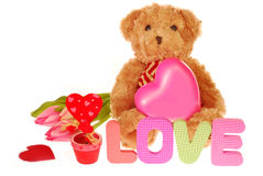 Teddy bear with valentine`s gifts Stock Photography